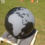 Granite Sphere with decorative sandblasted detail